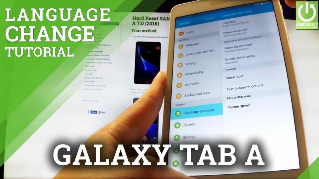 how to change language on a Samsung Tablet